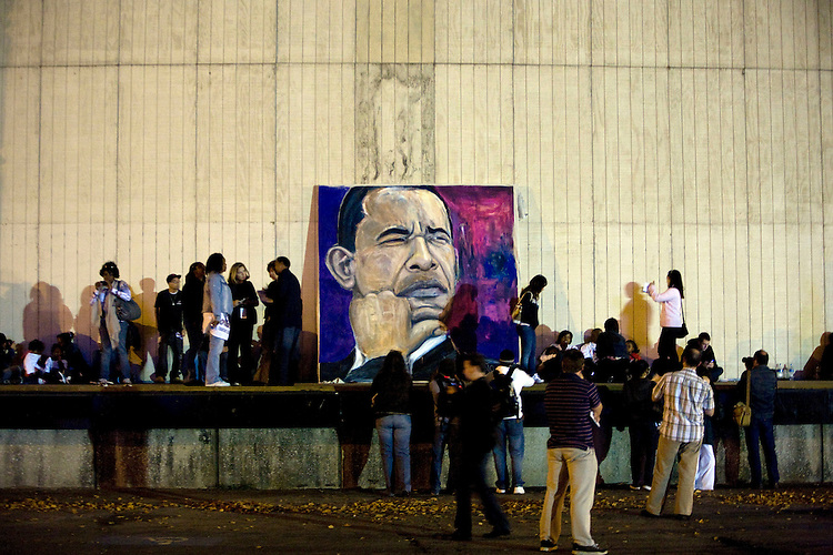 Supporters cheer as they arrive at the election night party for Democratic presidential candidate Sen. Barack Obama, D-Ill., at Grant Park in Chicago, Tuesday night, Nov. 4, 2008.
