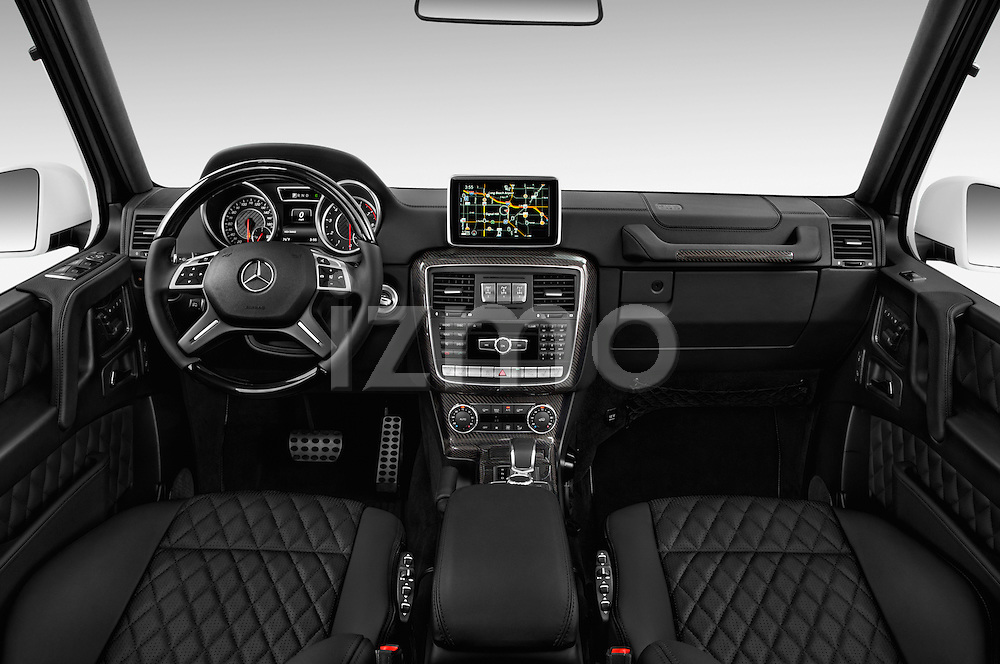 Stock photo of straight dashboard view of 2016 Mercedes Benz G-Class AMG-G63 5 Door SUV Dashboard