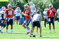 Wednesday, August 17, 2016: New England Patriots quarterback Tom Brady (12) drops back to make a pass a joint training camp session between the Chicago Bears and the New England Patriots held at Gillette Stadium in Foxborough Massachusetts. Eric Canha/CSM