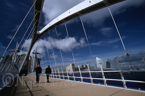 28 JUL 2007 - SALFORD, UK - The Millenium Bridge. (PHOTO (C) NIGEL FARROW)