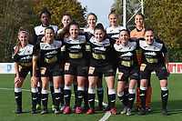 20191116 – WONDELGEM, BELGIUM : Aalst's team with Riet Maes (GK)  Elien Van Wynendaele (3)   Anke Vanhooren (7)   Annelies Van Loock (9)   Tia,a Andries (11)   Evy De Smedt (16)   Chloe Van Mingeroet (C)   Henriette Awete (19)   Jana Van Der Biest (20)   Laurence Marchal (31)   Margaux Van Ackere (37)     pictured during a women soccer game between AA Gent Ladies and Eendracht Aalst in the ¼  quarter finals of the Belgium Women's Cup Competition  season 2019-2020 , saturday 16 th November 2019 at the Neptunus site stadium in Wondelgem,  Gent  , Belgium  .  PHOTO SPORTPIX.BE | DIRK VUYLSTEKE