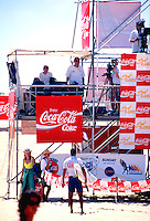 Sunny Garcia (HAW) Upset with the judges during the running of the Coke Classic at Narrabeen Beach, Sydney, Australia. Circa 1995. Photo: joliphotos.com