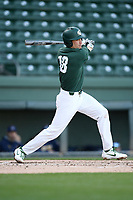 First baseman Justin Antoncic (18) of the Michigan State Spartans bats in a game against the Merrimack Warriors on Saturday, February 22, 2020, at Fluor Field at the West End in Greenville, South Carolina. Merrimack won, 7-5. (Tom Priddy/Four Seam Images)