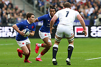 2nd February 2020, Stade de France, Paris; France, 6-Nations International rugby union, France versus England;  Antoine Dupont (France) and Teddy Thomas (France) charge towards contact with Joe Marler (Eng)