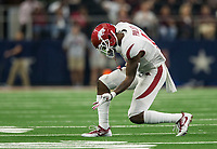 Hawgs Illustrated/Ben Goff<br /> Ryan Pulley, Arkansas cornerback, reacts after a stop in the 4th quarter vs Texas A&M Saturday, Sept. 29, 2018, during the Southwest Classic at AT&T Stadium in Arlington, Texas.