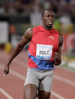 Il giamaicano Usain Bolt vince i 100 metri uomini durante il Golden Gala di atletica leggera allo stadio Olimpico di Roma, 31 maggio 2012..Jamaica's Usain Bolt runs to win the men's 100 meters during the IAAF athletic Golden Gala meeting at Rome's Olympic stadium, 31 may 2012..UPDATE IMAGES PRESS/Riccardo De Luca