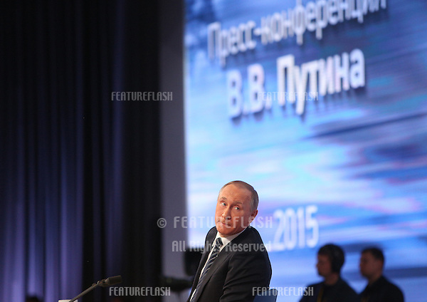 MOSCOW, RUSSIA - December 17, 2015: Russian president Vladimir Putin holds his annual press conference at the World Trade Centre, Moscow, with Russian and international journalists.<br />