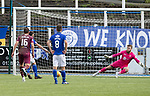 Queen of the South v St Johnstone&hellip;18.08.18&hellip;  Palmerston    BetFred Cup<br />Stephen Dobbie sends Zander Clark the wrong way to make it 3-2<br />Picture by Graeme Hart. <br />Copyright Perthshire Picture Agency<br />Tel: 01738 623350  Mobile: 07990 594431