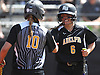 Lauren Sandelier #6 of Adelphi, right, gets congratulated by teammate Nicoletta Cuccio #10 after crossing home plate in the top of the fifth inning of Game 2 of the NCAA Division II East Super Regional against Southern New Hampshire University at Adelphi University on Thursday, May 12, 2016. Cuccio capped the four-run rally with a two-run homer to lead Adelphi to a 4-1 win to sweep the best-of-three series.