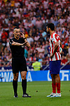 Diego Costa of Atletico de Madrid have words with the referee during La Liga match between Atletico de Madrid and SD Eibar at Wanda Metropolitano Stadium in Madrid, Spain.September 01, 2019. (ALTERPHOTOS/A. Perez Meca)