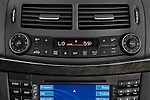 Stereo audio system close up detail view of a 2008 Mercedes E63 Sedan