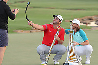 Jon Rahm (ESP) winner of the DP World Tour Championship and Tommy Fleetwood (ENG) winner of the Race to Dubai Championship at the season ending DP World Tour Championship, Jumeirah Golf Estates, Dubai, United Arab Emirates. 19/11/2017<br /> Picture: Golffile | Fran Caffrey<br /> <br /> <br /> All photo usage must carry mandatory copyright credit (© Golffile | Fran Caffrey)