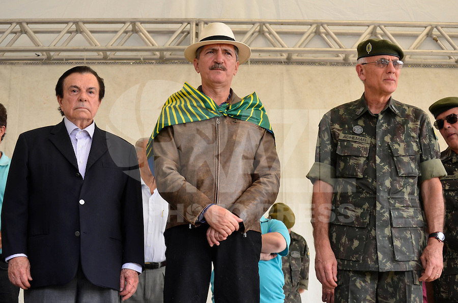 SÃO PAULO, SP, 07 DE SETEMBRO DE 2013 – ENCENAÇÃO DO GRITO DE INDEPENDÊNCIA – O Ministro dos esportes Aldo Rebelo durante encenação do Grito de Independência ou Morte, que faz parte das festividades do dia da Independência do Brasil e que foi realizado na tarde deste sábado (7), no Parque da Independência em São Paulo. FOTO: LEVI BIANCO – BRAZIL PHOTO PRESS.