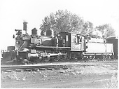 3/4 fireman's-side view of D&amp;RGW #361 with passenger car.<br /> D&amp;RGW