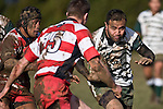 Filipo Tautu confronts Noam Dubart. Counties Manukau Premier rugby game between Karaka & Manurewa played at the Karaka Domain on July 5th 2008..Karaka won 22 - 12.