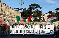 "Manifestazione del Movimento dei Forconi contro le politiche di austerita' del governo, le tasse e la disoccupazione, in Piazza del Popolo a Roma, 18 dicembre 2013.<br /> Pitchforks Movement's protesters gather against government's austerity measures, taxes and unemployment in Rome, 18 December 2013. The banner reads ""Students, labourers, workers... The sun doesn't rise at Brussels"".<br /> UPDATE IMAGES PRESS/Riccardo De Luca"