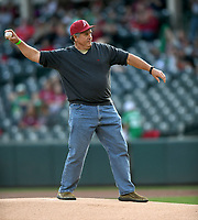 NWA Democrat-Gazette/ANDY SHUPE<br />Arkansas great and retired Major League player Kevin McReynolds throws out the first pitch before the Razorbacks take on Mississippi State Friday, March 17, 2017, at Baum Stadium in Fayetteville. Visit nwadg.com/photos to see more photographs from the game.