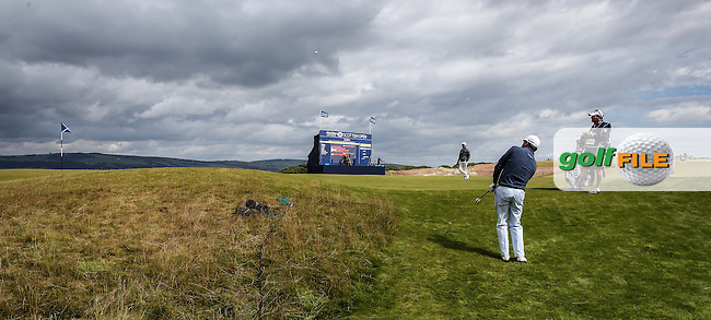 Graeme McDowell (NIR) plays from the back of the 18th during the First Round of the 2016 Aberdeen Asset Management Scottish Open, played at Castle Stuart Golf Club, Inverness, Scotland. 07/07/2016. Picture: David Lloyd | Golffile.<br /> <br /> All photos usage must carry mandatory copyright credit (&copy; Golffile | David Lloyd)