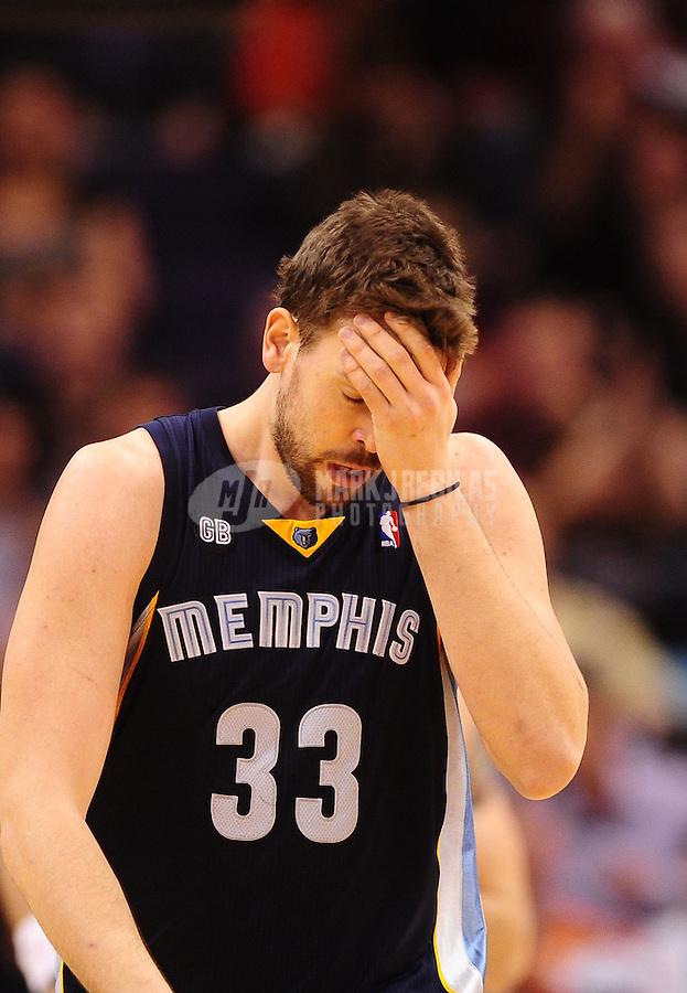 Jan. 28, 2012; Phoenix, AZ, USA; Memphis Grizzlies center Marc Gasol reacts against the Phoenix Suns at the US Airways Center. The Suns defeated the Grizzlies 86-84. Mandatory Credit: Mark J. Rebilas-USA TODAY Sports