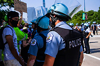 Chicago cops at rallies in Grant Park downtown Chicago.