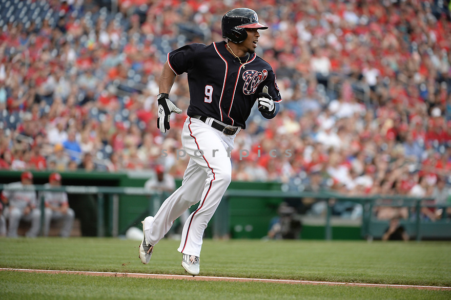 Washington Nationals Ben Revere (9) during a game against the Cincinnati Reds on July 1, 2016 at Nationals Park in Washington DC. The Nationals beat the Reds 3-2.