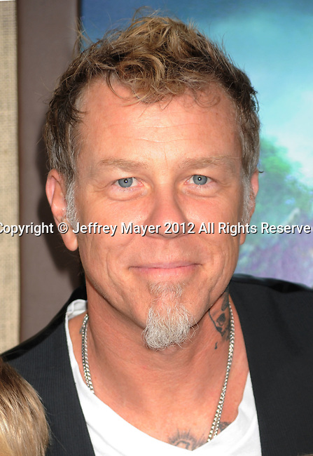 HOLLYWOOD, CA - FEBRUARY 02: James Hetfield of Metallica attends 'Journey 2: The Mysterious Island' Los Angeles Premiere at Grauman's Chinese Theatre on February 2, 2012 in Hollywood, California.