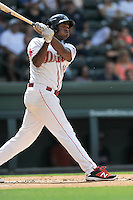 First baseman Josh Ockimey (18) of the Greenville Drive bats in a game against the Hagerstown Suns on Sunday, July 17, 2016, at Fluor Field at the West End in Greenville, South Carolina. Hagerstown won, 3-2. (Tom Priddy/Four Seam Images)