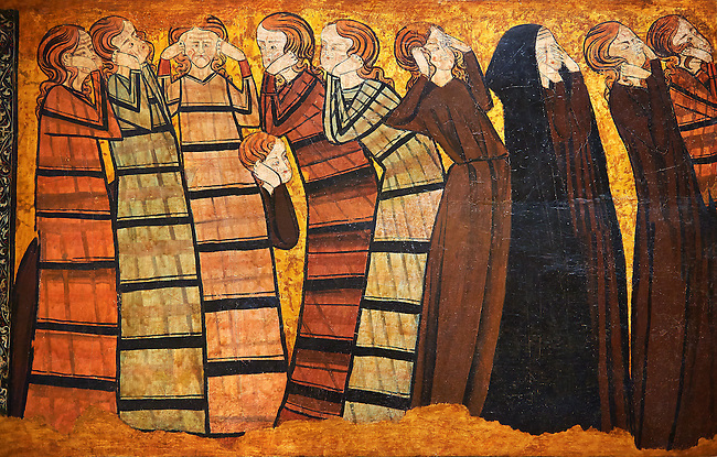 "Gothic  painting ""Pleurants"" Circa 1295. National Museum of Catalan Art, Barcelona, Spain, inv no: 004372-005. <br /> Part of a set of eight panels. They come from the decoration on the tomb of the knight Sancho Sánchez Carrillo in the chapel of San Andrés de Mahamud (Burgos)."