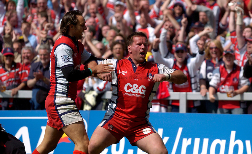 Photo: Richard Lane..Gloucester Rugby v Saracens. Guinness Premiership Play-Off. 05/05/2007. .Gloucester's Christian Califano (rt) celebrates his try with Jon Goodridge.