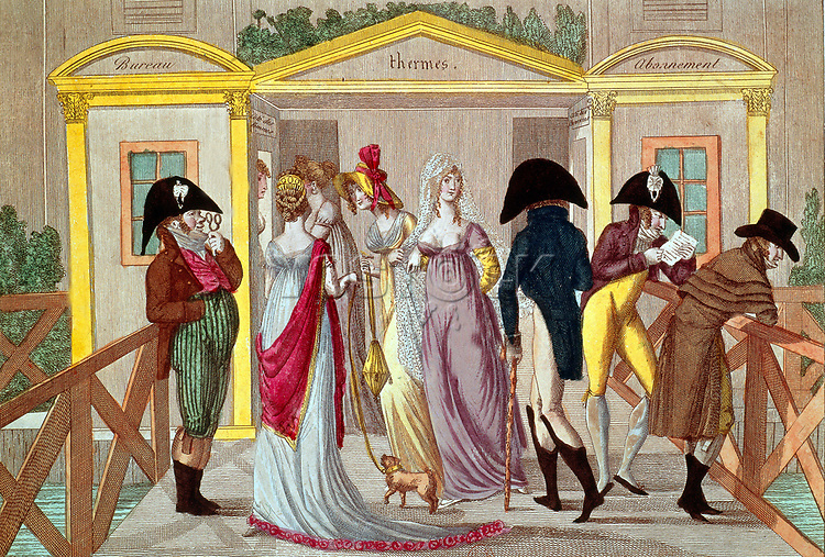 Les bains Vigier, bains publics installes sur la Seine pres du Pont Royal a Paris, tres a la mode a l'epoque du Directoire (1795-1799), gravure  --- Vigier public baths in paris at time of Directoire (1795-1799), engraving