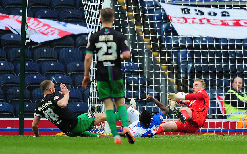 Bristol City's Aaron Wilbraham scores his sides second goal putting the ball past Blackburn Rovers' Jason Steele<br /> <br /> Photographer Chris Vaughan/CameraSport<br /> <br /> Football - The Football League Sky Bet Championship - Blackburn Rovers v Bristol City - Saturday 23rd April 2016 - Ewood Park - Blackburn <br /> <br /> &copy; CameraSport - 43 Linden Ave. Countesthorpe. Leicester. England. LE8 5PG - Tel: +44 (0) 116 277 4147 - admin@camerasport.com - www.camerasport.com