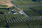 Orchards in the Bray's Landing area near Orondo, WA in Douglas County.  Canopies are in place to shelter cherries from rain.  Aerial photo