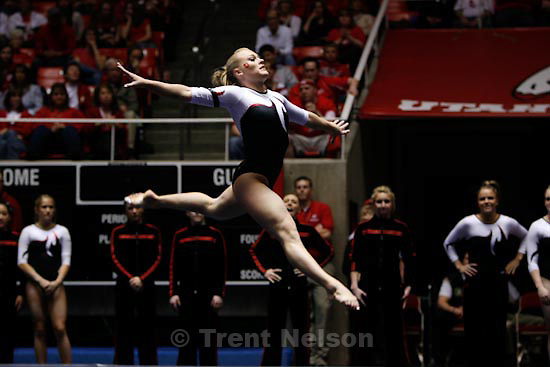 Trent Nelson  |  The Salt Lake Tribune.Salt Lake City - Utah vs. BYU college gymnastics Friday, March 26, 2010. Utah's Jamie Deetscreek, floor