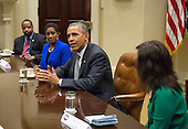 United States President Barack Obama meets with small business leaders, including Hester Clark (center), owner of the PR firm the Hester Group, and Marc Parham, Director of the Atlanta Urban League's Entrepreneurship Program, in the Roosevelt Room at the White House on October 11, 2013. <br /> Credit: Kevin Dietsch / Pool via CNP
