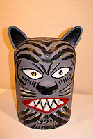 cermonial jaguar or tiger mask in the Museo de Arte Popular or Museum of Popular Art in San Salvador, El Salvador