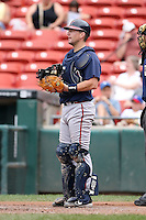 July 20th 2008:  Catcher Jason Phillips of the Richmond Braves, Class-AAA affiliate of the Atlanta Braves, during a game at Dunn Tire Park in Buffalo, NY.  Photo by:  Mike Janes/Four Seam Images