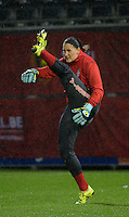 20151130 - LEUVEN ,  BELGIUM : Serbian Susanne Nilsson pictured during the female soccer game between the Belgian Red Flames and Serbia , the third game in the qualification for the European Championship in The Netherlands 2017  , Monday 30 November 2015 at Stadion Den Dreef  in Leuven , Belgium. PHOTO DIRK VUYLSTEKE