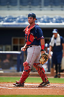 GCL Red Sox catcher Devon Fisher (22) during the second game of a doubleheader against the GCL Rays on August 4, 2015 at Charlotte Sports Park in Port Charlotte, Florida.  GCL Red Sox defeated the GCL Rays 2-1.  (Mike Janes/Four Seam Images)