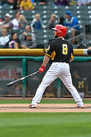Shane Robinson (8) of the Salt Lake Bees at bat against the Las Vegas 51s in Pacific Coast League action at Smith's Ballpark on September 4, 2016 in Salt Lake City, Utah. The Bees defeated the 51s 4-3. (Stephen Smith/Four Seam Images)