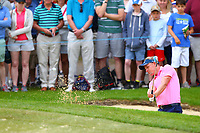 Luke Donald chips out of a bunker at the 5th green during the BMW PGA Golf Championship at Wentworth Golf Course, Wentworth Drive, Virginia Water, England on 27 May 2017. Photo by Steve McCarthy/PRiME Media Images.