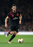 Hakan Çalhanoğlu of AC Milan in action during the UEFA Europa League round of 16 2nd leg match between Arsenal and AC Milan at the Emirates Stadium, London, England on 15 March 2018. Photo by Vince  Mignott / PRiME Media Images.