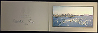 BNPS.co.uk (01202 558833)<br /> Pic: Rowleys/BNPS<br /> <br /> Pictured: HMY Britannia leaving Sydney harbour in Australia featured.<br /> <br /> A series of Christmas cards sent by the Royal Family to a married couple on their staff over a 25 year period have sold for £2,000.<br /> <br /> Most of the cards were sent by the Queen and Prince Philip and show the changing face of the monarchy from the black-and-white post war world to the colourful 1970s.<br /> <br /> They were sent to the couple who worked at Balmoral, the wife in the house and the husband on the estate.<br /> <br /> The cards were sold individually with the most expensive being the one for Christmas 1947 which was signed by King George VI and the Queen Mother.