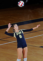 Florida International University women's volleyball player Jessica Egan (6) plays against Western Kentucky University.  Western Kentucky won the match 3-0 on September 30, 2011 at Miami, Florida. .