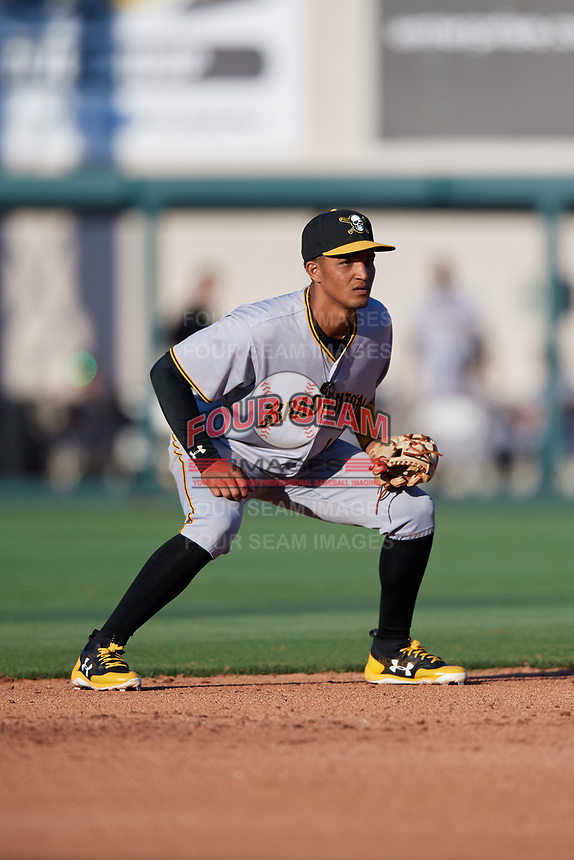 Bradenton Marauders shortstop Adrian Valerio (14) during the first game of a doubleheader against the Lakeland Flying Tigers on April 11, 2018 at Publix Field at Joker Marchant Stadium in Lakeland, Florida.  Lakeland defeated Bradenton 5-4.  (Mike Janes/Four Seam Images)