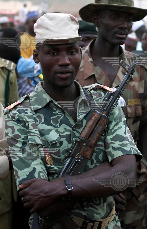 A soldier from Benin Republic at the Argungu fishing festival.