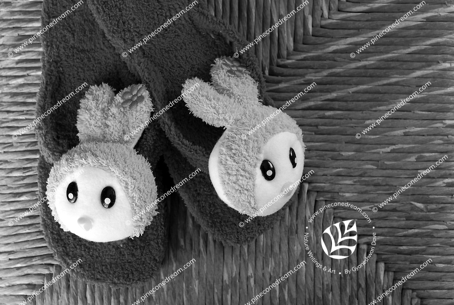 Black & white stock image of pair of cute bunny slippers lying on cane background.<br />