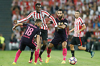 Athletic de Bilbao's Inaki Williams (c) and FC Barcelona's Jordi Alba (l) and Arda Turan during La Liga match. August 28,2016. (ALTERPHOTOS/Acero) /NORTEPHOTO