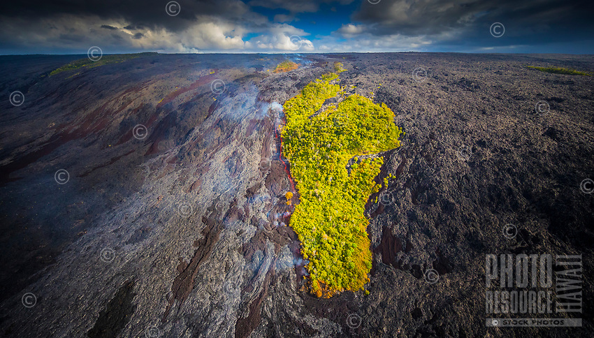 An aerial view of the Kilauea lava flow that began on June 27, 2014, in Pahoa, Big Island. This image was taken from a helicopter in July 2016.