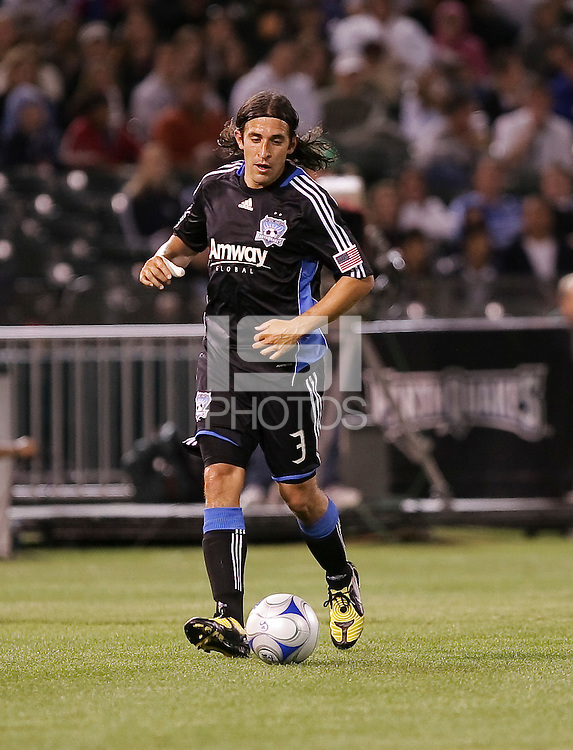 Nick Garcia controls the ball. San Jose Earthquakes tied Los Angeles Galaxy 1-1 at the McAfee Colisum in Oakland, California on April 18, 2009.