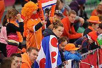 SCHAATSEN: HAMAR: Vikingskipet, 11-01-2014, Essent ISU European Championship Allround, Nederlandse schaatssupporters, Friese vlag, ©foto Martin de Jong